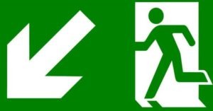 Fire Exit this way sign