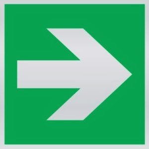 Supplementary arrow sign for fire safety direction